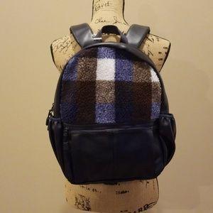 Mossimo navy blue backpack fleece plaid Rack:5:518